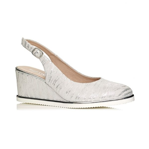 wedge pump in white silver extra light and comfort