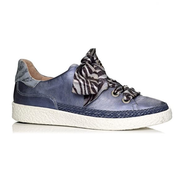 buy online softwaves sneakers in blue jeans leather with details and laces in tiger print, removable insole and extra comfort