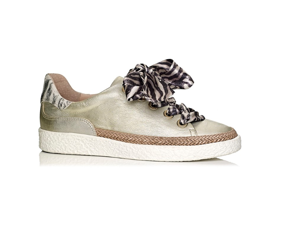 buy online softwaves sneakers in gold leather with details and laces in tiger print, removable insole and extra comfort