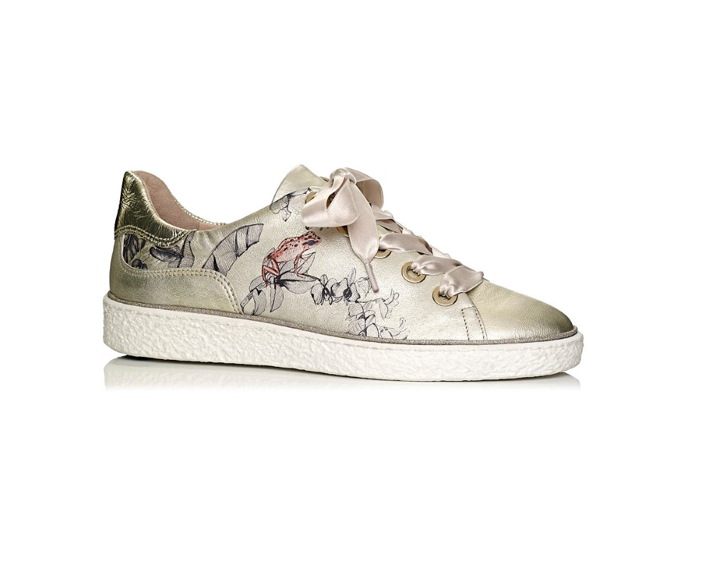 buy online softwaves sneakers in gold leather with frog print, removable insole and comfort