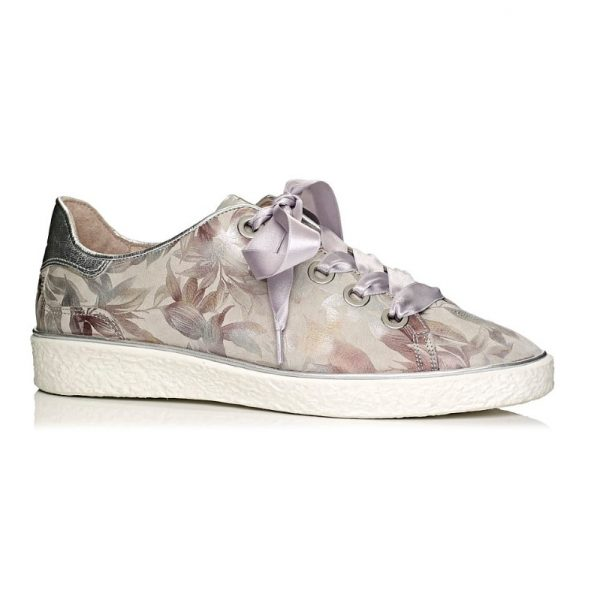 buy online flat Softwaves sneakers with white sole in color grey with laces, removable insole and extra comfort