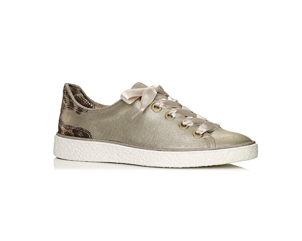 buy onlie Softwaves Flat Sneakers in gold with snake print leather, remoavble insole and extra comfort