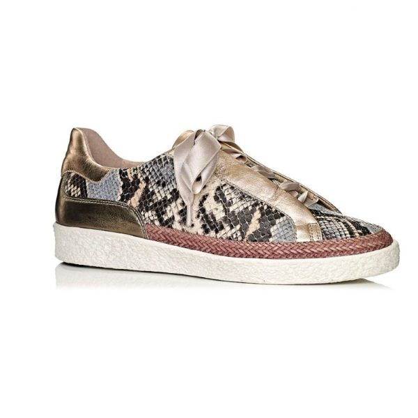 buy online flat sneakers softwaves with snake print leather in pink nude, removable insole and comfort