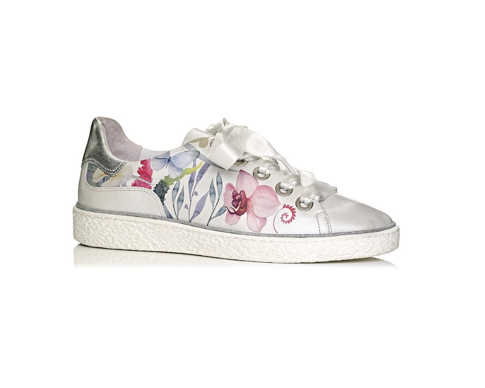 buy online flat Softwaves sneakers with white sole in color white with printed flowers removable insole extra comfort