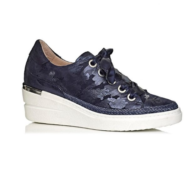 buy online wedge sneakers in camuflage navy blue with laces, comfort