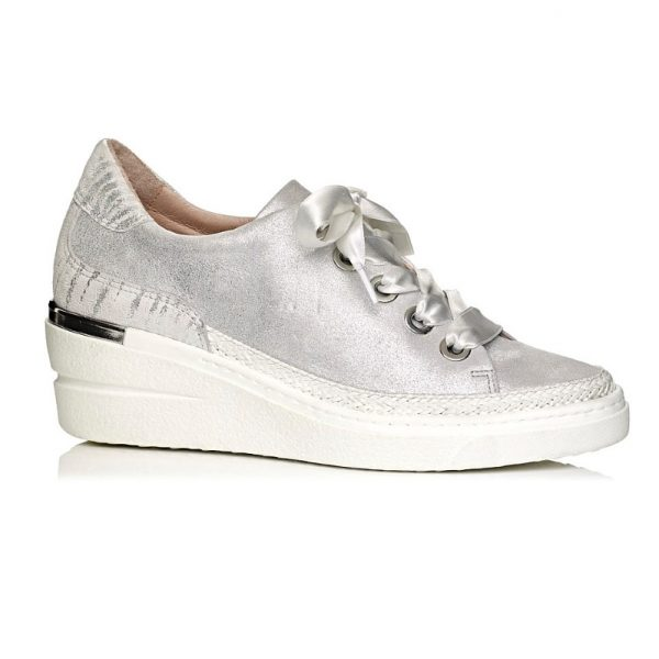buy online wedge sneakers in white silver with laces