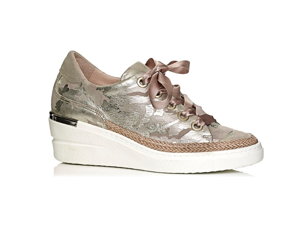 buy online softwaves wedge sneakers in camuflage platino gold, with laces and comfort