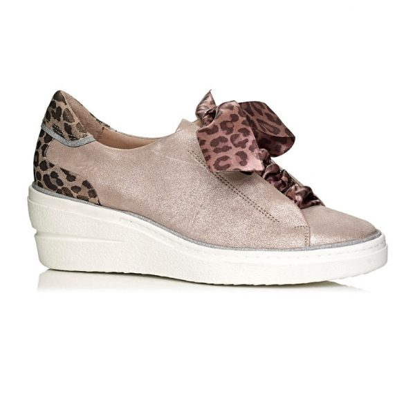 buy online softwaves wedge sneakers in pink nude with leopard laces and silver details