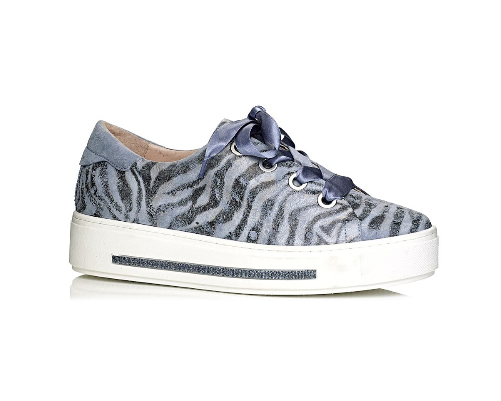 buy online Softwaves sneakers with white sole in jeans blue tiger print with laces removable insole extra comfort