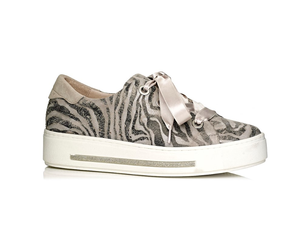 buy online Softwaves sneakers with white sole in taupe tiger print with laces removable insole extra comfort