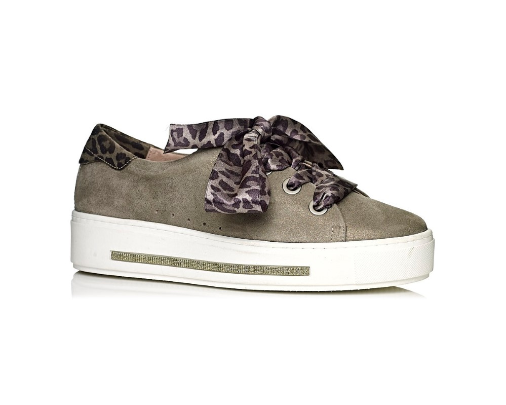 Softwaves womane sneakers in kaki with leopard laces