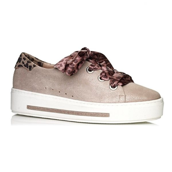 buy online Softwaves sneakers with white sole in color gold nude with leopard laces extra comfort removable insole