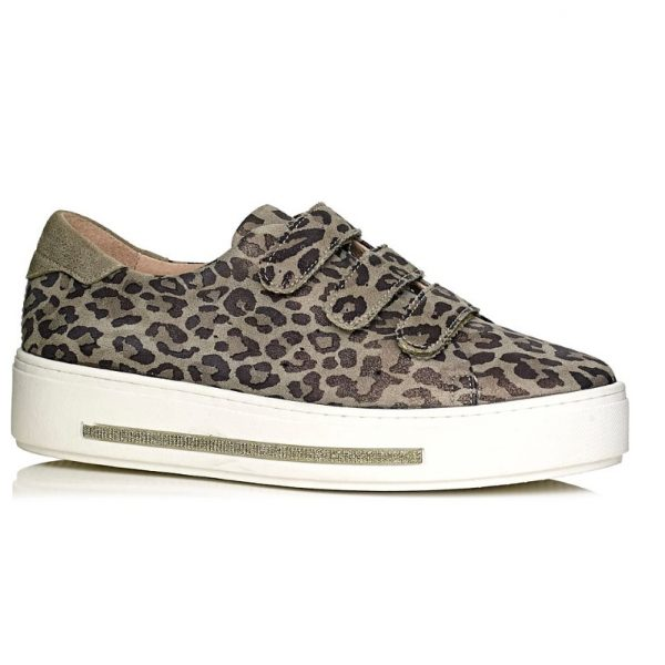 buy online Softwaves sneakers with white sole with velcro in leopard kaki removable insole and extra comfort