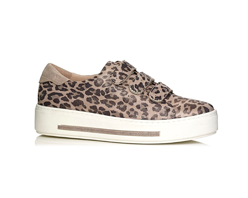 buy online Softwaves sneakers with white sole and velcro in leopard nude pink, removable insole