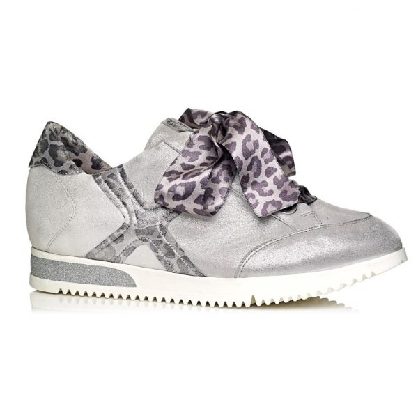 Women Sneaker 7.62.09.04 Silver with leopard laces