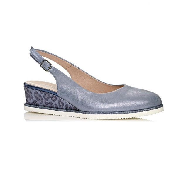 buy online wedge pump shoe in blue jeans, extra light
