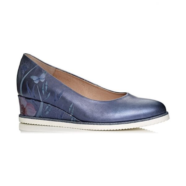 buy online wedge pump shoe in blue jeans, removable insole, extra light