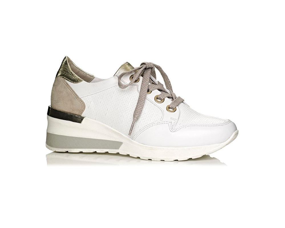 Softwaves Wedge Sneaker in white and gold, comfort