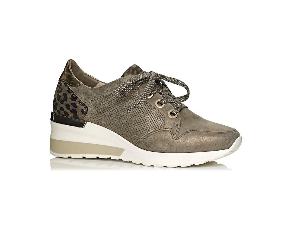 buy online softwaves wedge sneakers in color kaki with leopard print kaki