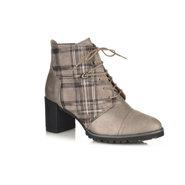HEEL ANKLE BOOT WITH LACES IN GREY