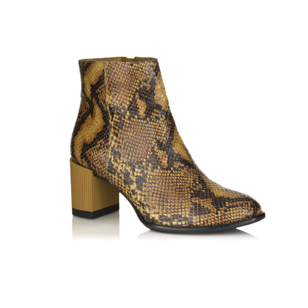 HEEL ANKLE BOOT IN PYTHON MUSTARD VERY COMFORT