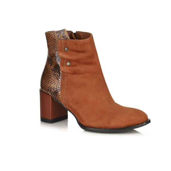 BUY ONLINE ANKLE BOOTS WITH HEEL VERUY COMFORT PYTHON MUSTARD