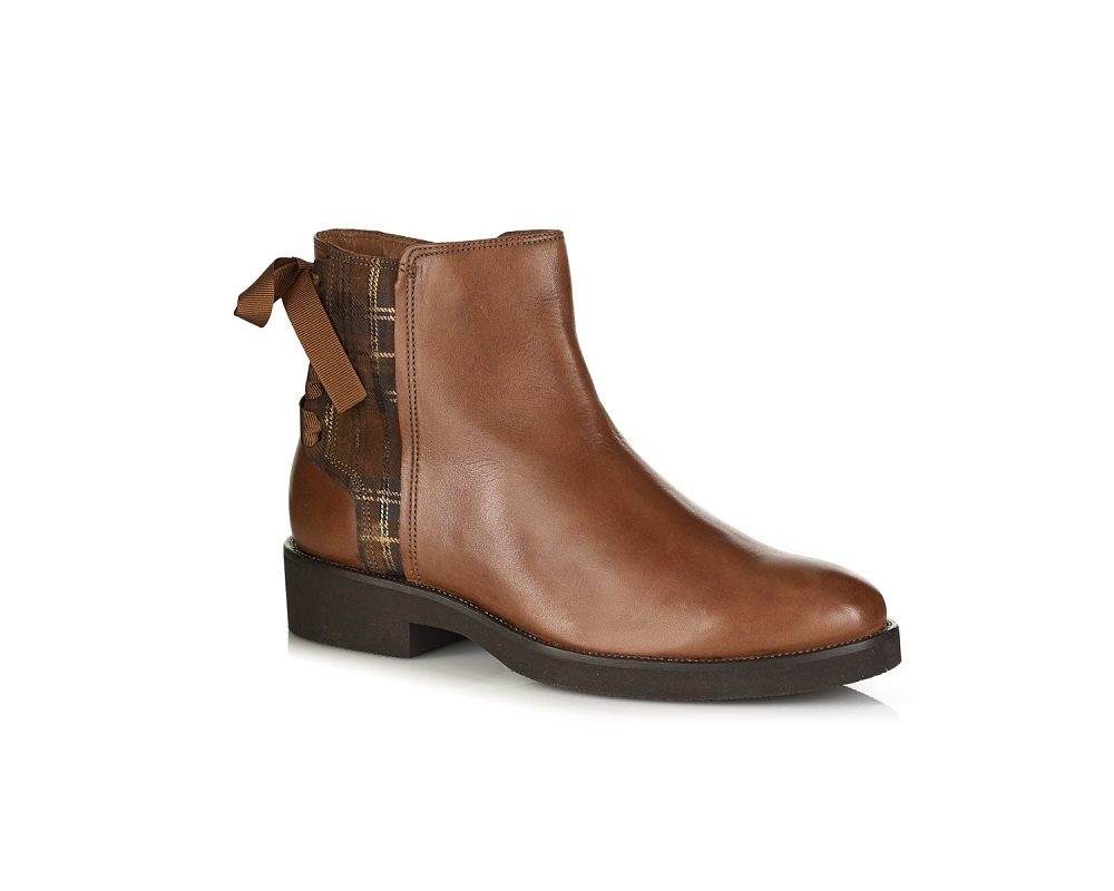 WOMAN fLAT ANKLE BOOT IN LEATHER COGNAC VERY LIGHT AND COMFORT
