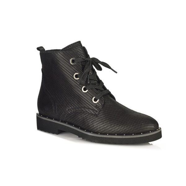 WOMAN FLAT ANKLE BOOTS IN FANTASY LEATHER VERY LIGHT AND COMFORT