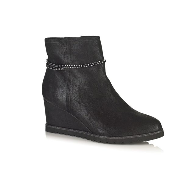 WEDGE BOOTS IN BLACK VERY COMFORT EXTRA LIGHT AND TOTAL COMFORT HEEL 5.5CM
