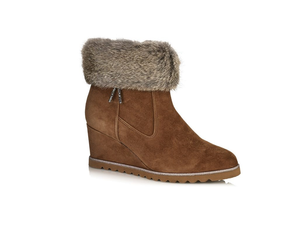 WEDGE ANKLE BOOTS IN VELOUR WITH A FUR IN COGNAC, VERY LIGHT ,COMFORT AND SOFT