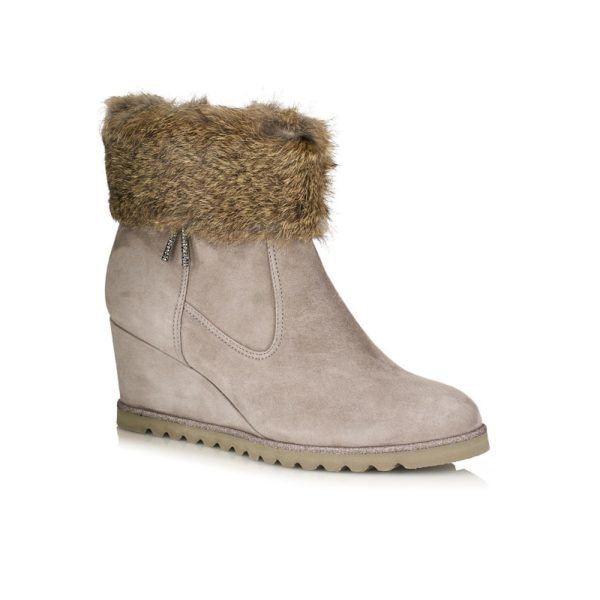WEDGE ANKLE BOOTS IN VELOUR WITH A FUR VERY LIGHT ,COMFORT AND SOFT