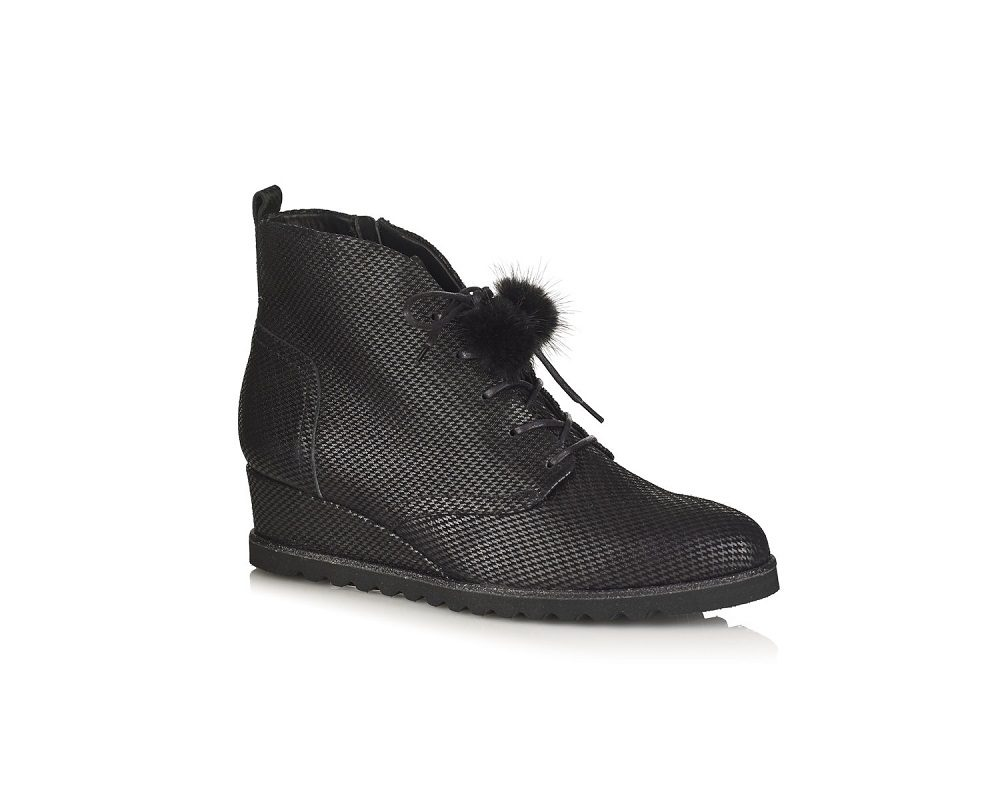 WEDGE ANKLE BOOTS IN BLACK LEATHER, VERY LIGHT AND COMFORT TOTAL SOFT