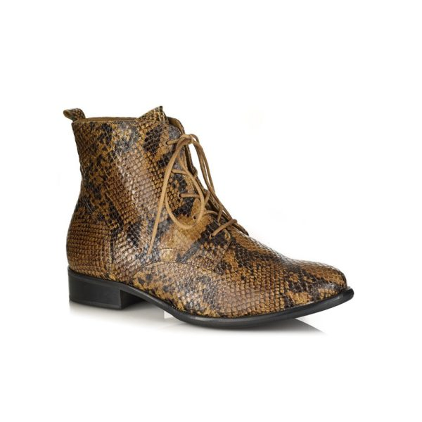 WOMAN FLAT ANKLE BOOT IN PYTHON MUSTARD, VERY COMFORT