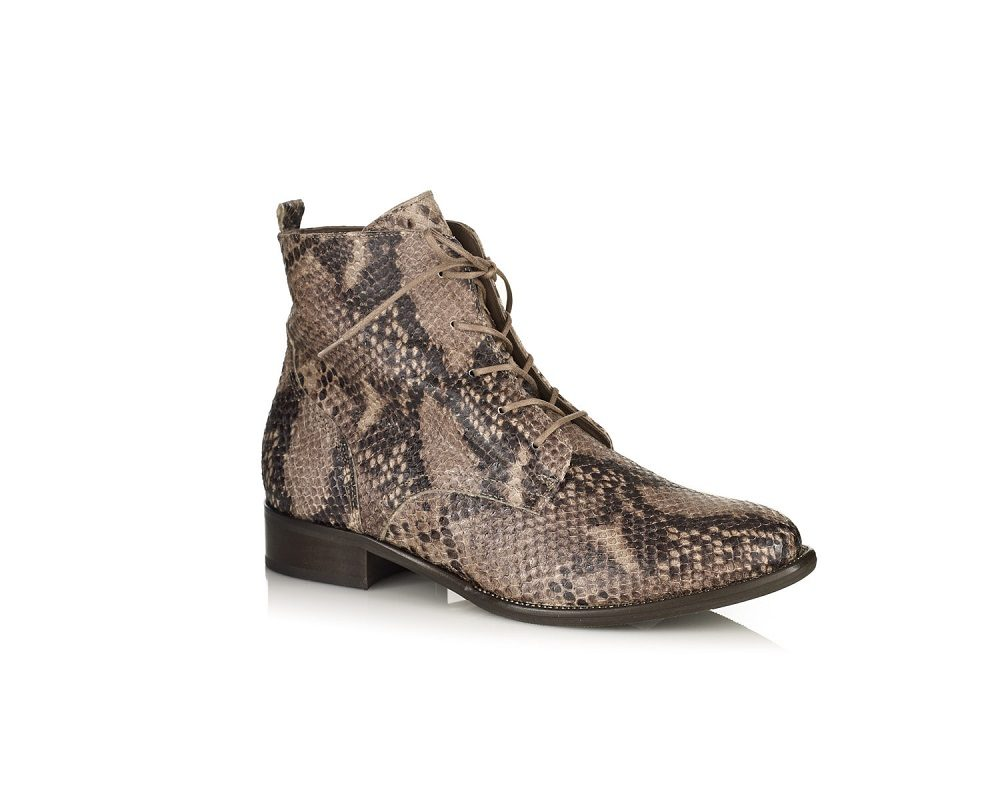 WOMAN FLAT ANKLE BOOTS IN PYTHON COGNAC VERY COMFORT BY SOFTWAVES