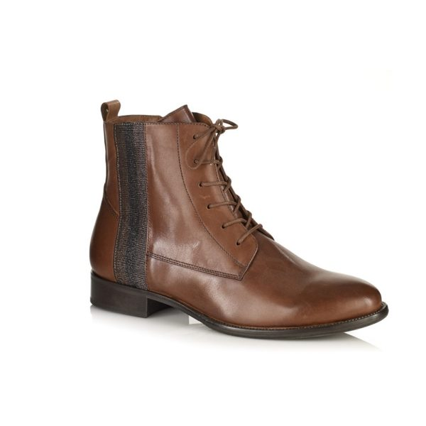 WOMAN FLAT ANKLE BOOTS IN LEATHER COGNAC BY SOFTWAVES VERY COMFORT