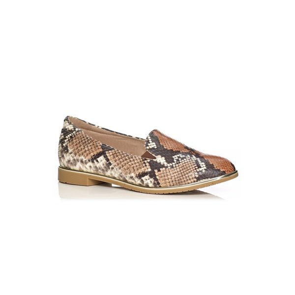 SOFTWAVES FLAT SHOES IN PYTHON COGNAC VERY LIGHT COMFORTABLE