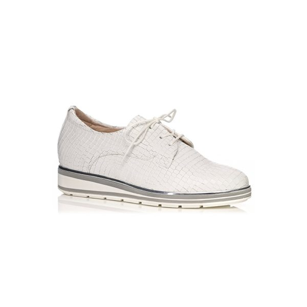 SOFTWAVES FLAT SHOES VERY COMFORT AND LIGHT IN CROCO WHITE