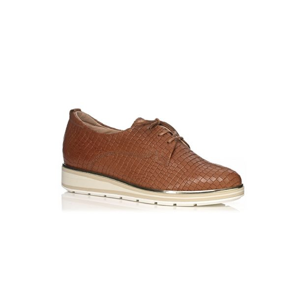 SOFTWAVES FLAT SHOES IN CROCO COGNAC WITH LACES VERY COMFORTABLE