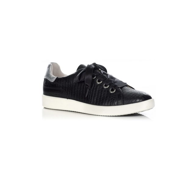 FLAT SNEAKERS IN CROCO BLACK VERY LIGHT AND SOFT, COMFORT