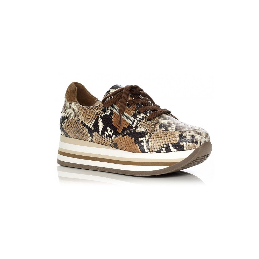 SOFTWAVES WEDGE SENAKERSVERY COMFROT AND WITH REMOVABLE INSOLE IN COLOR python COGNAC