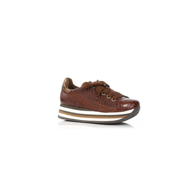 PLATFORM SNEAKERS IN COGNC LEATHER VERY LIGHT AND SOFT, COMFORT,