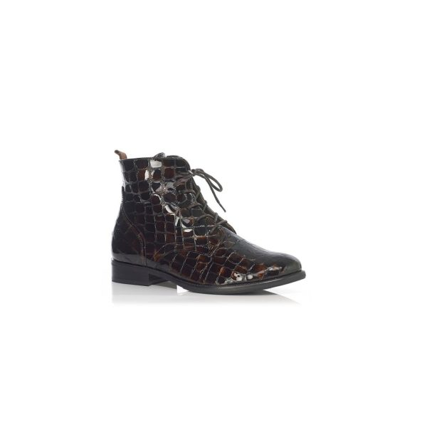 FLAT ANKLE BOOT WITH LACE IN CROCO COGNAC, VERY LIGHT AND COMFORT