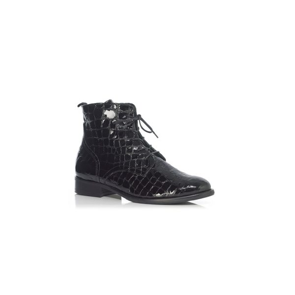 FLAT ANKLE BOOT WITH LACE IN CROCO BLACK, VERY LIGHT AND COMFORT