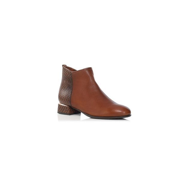 FLAT ANKLE BOOTS WITH INSIDE ZIP IN COGNAC, WOMAN SHOES, QUALITY SHOES