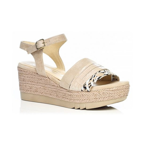 WOMAN SHOES WEDGE SANDALS IN CAMEL 6.87.43.02 LIGHT COMFORT