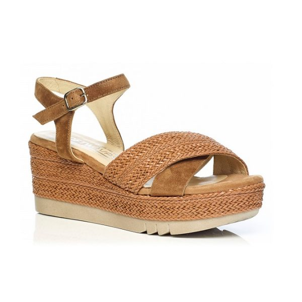 WOMAN SHOES WEDGE SANDALS IN COGNAC 6.87.44.01 LIGHT COMFORT