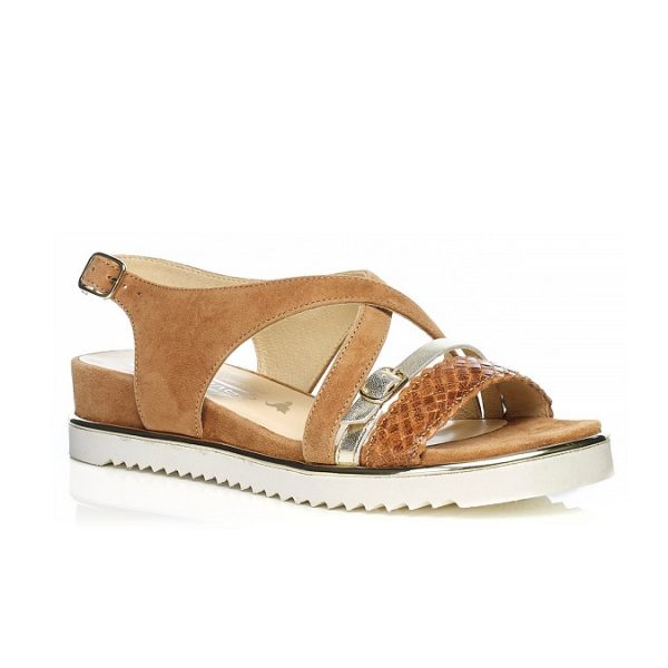 Flat Sandal 7.42.42.00 COGNAC with braid, very soft very comfort
