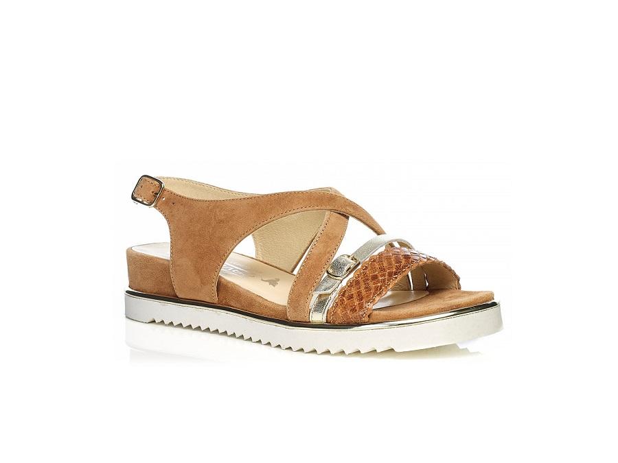 Flat Sandal 7.42.42.00 COGNAC with braid, very soft very comfort