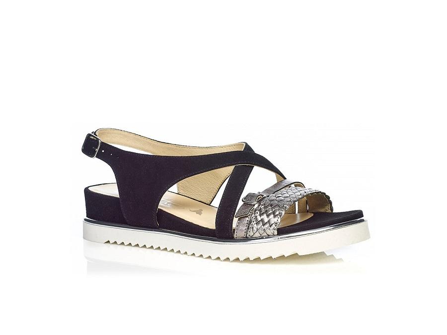 Flat Sandal 7.42.42.01 BLACK with braid, very soft very comfort