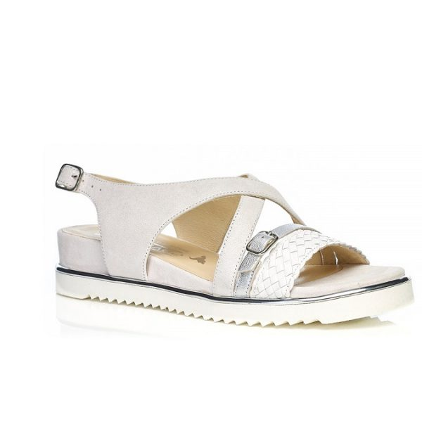 Flat Sandal 7.42.42.02 in WHITE with braid, very soft very comfort